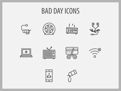 Bad Day Icons nerd failure mistake bad iconset icons
