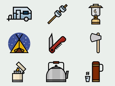 In the wilderness climbing wilderness wild outdoor camping set icons