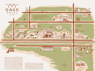 Gage Hotel Property Map hotel branding map illustration hotel