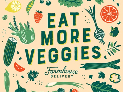 Eat More Veggies farm veggies produce food illustration texas design identity branding