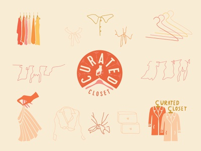 Curated Closet clothing stylist illustration design brand identity branding logo