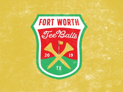 Fort Worth Tee Balls baseball golf texas identity logos branding badge design patch design logo design