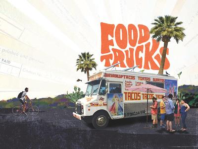 ARRIVE Hotel - Food Trucks digital art food truck illustration collage digital collage