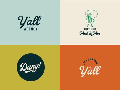 Y'all Agency Branding logo design texas brand design identity logo branding