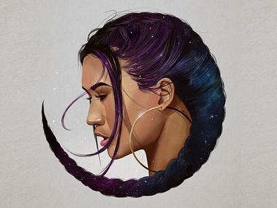 Half Moon illustration art digital painting