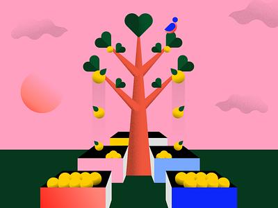Social Fruit bird fruit illustration social tree