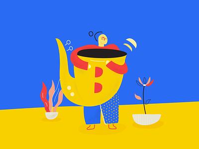 A girl and and oversized saxophone marketing platform ipad plants saxophone illustration