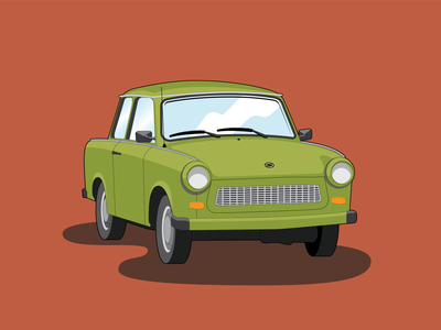 Green Trabant 70s retro vectorart trabant green flat icon vector design illustration