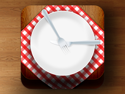 Eat On Time icon app ios apple food eat time fork knife table wood shadow red italy
