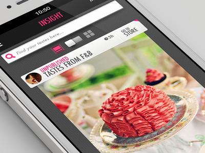 Foodelicious App - Timeline pink black tray futura switch search tasty