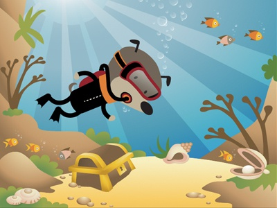 Picture Book Diving vector children kids illustration animation cute ocean diving dog treasure chest shell fish underwater sun