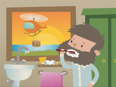 Waking Up children kids picture book illustration helicopter vector sunrise