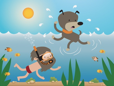 Expectations vs. Reality 03 kids illustration animation cute picture book children dog swimming diving fish vector