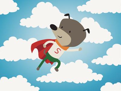 Super Dog kids illustration animation cute picture book children dog superman flying vector clouds