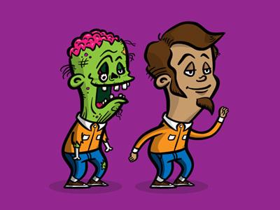 Zombie Doppelgänger zombie man character design vector cartoon comic illustration