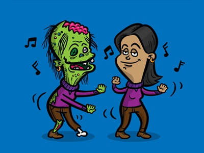 Zombie Doppelgänger zombie woman dancing character design vector cartoon comic illustration zombie alter ego series