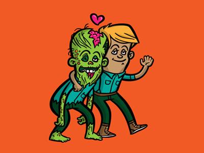 Zombie Doppelgänger zombie man character design vector cartoon comic illustration queer valentine
