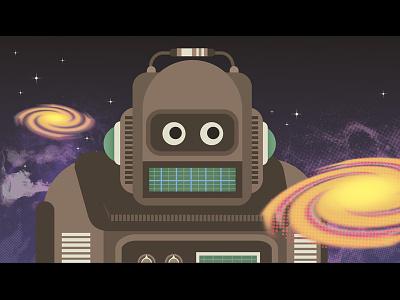 Ai Kindergarten space galaxy robot cute character design ai