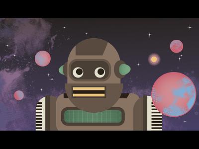 Ai Kindergarten space planets robot cute character design ai