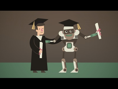 Ai Kindergarten graduation robot ai cute character design