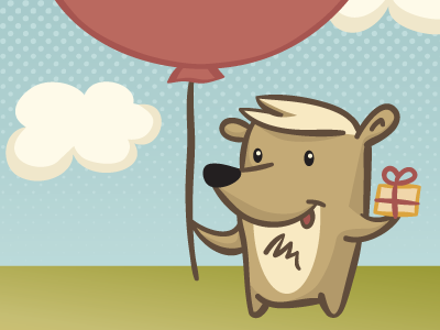 Happy Birthday Bear bear birthday clouds postcard vector present