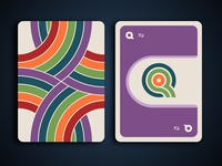 Rainbow card game - card back and a purple queen