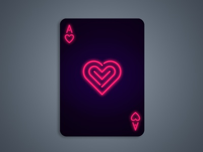Neon Ace Of Hearts