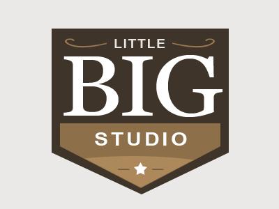 Little Big Studio logo brown star classic serif