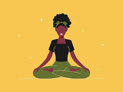 Lotus Pose character hair illustration woman afro pose lotus position yoga