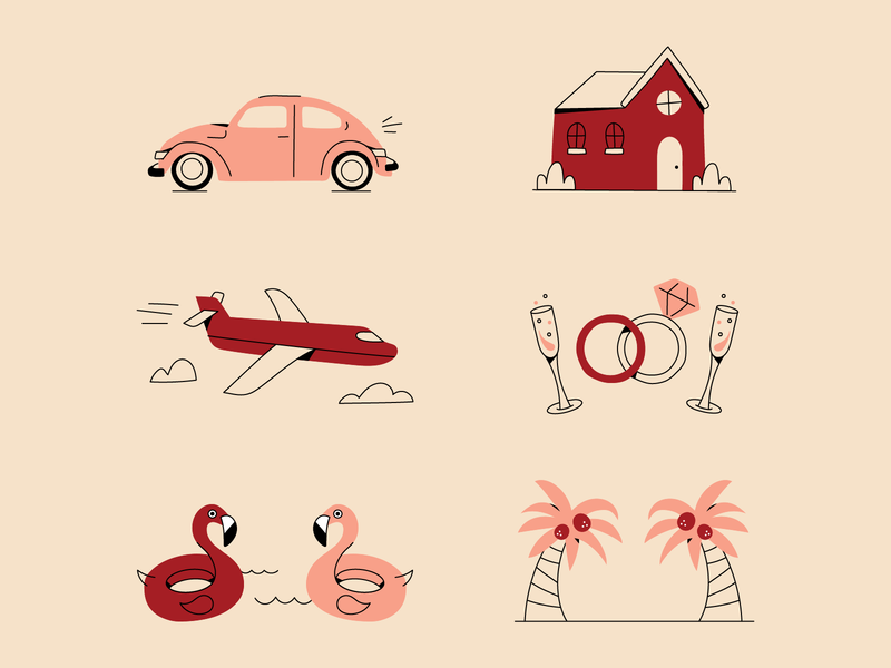 What are you saving for? icons line art flamingo vacations pool plane wedding car home line illustration