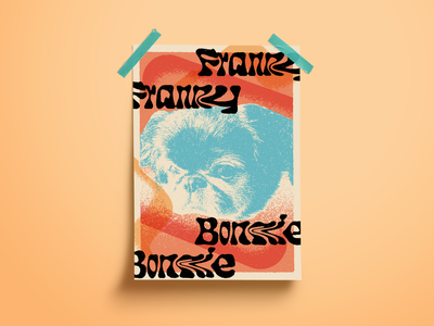Pup Poster pekingese texture poster art risography photoshop obsession dog poster risograph
