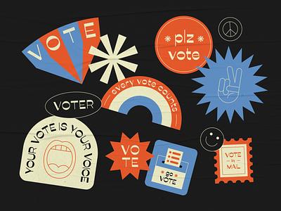 Vote line stamp mail texas peace ballot paper govote president usa voter bidenharris 2020 illustration election vote stickers