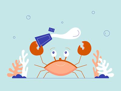 Crab coral reef blue beauty illustrator line illustration ocean reef sunscreen crab