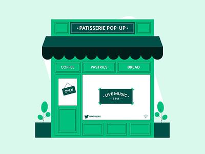Pop-Up Shop Animation bread pastry shine window illustration line plant business shop graphic design motion graphics animation