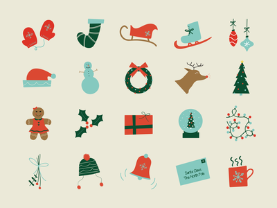 Christmas Illustrations kids icons mittens ornaments gingerbread holidays sleigh illustration christmas
