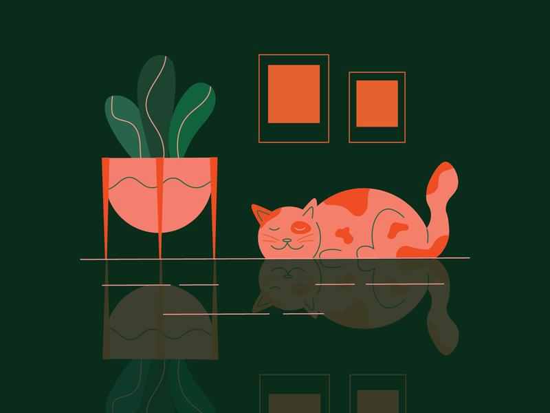Sleeping Cat reflection illustration planter plants cat kitty