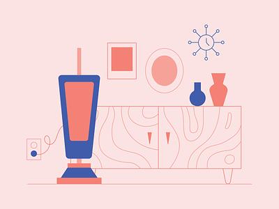 Vacuum wood mid century outlines table cabinet vase clock living room cradenza vacuum illustration