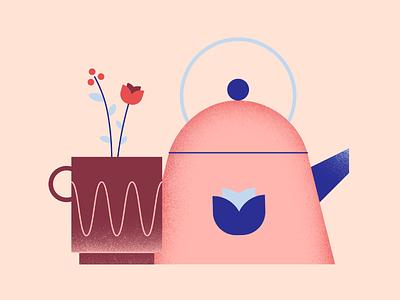 Tea Time coffee texture flower kettle illustration mug tea