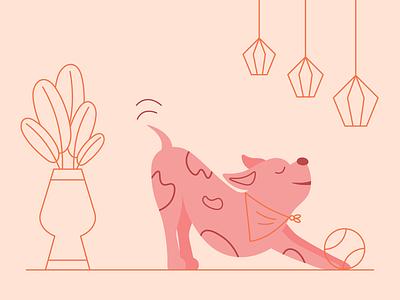 Downward Dog downward dog illustration line plant ball light puppy dog yoga stretch