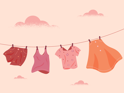 Laundry texture illustration clouds hanging laundry clothes shorts shirt skirt