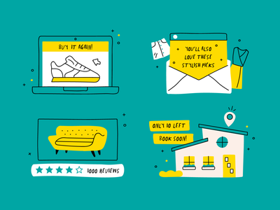 Persuasive Marketing Icons couch clothes dress skirt house shoes reviews airbnb icons marketing email illustration