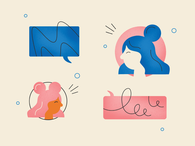 Ladies Communicating hair illustration texture talking communication speech ladies women