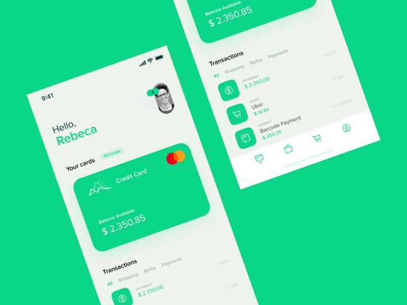 Minimal Finance App wallet finance finance app money ios design green ui minimal app