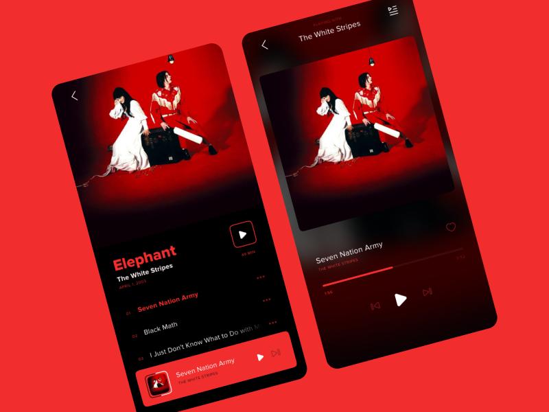 Minimalist music app ui design flat interface player ui redesign musician music player red icons spotify music app music minimal