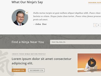 Ninja Home mockup website home testimonials ninja