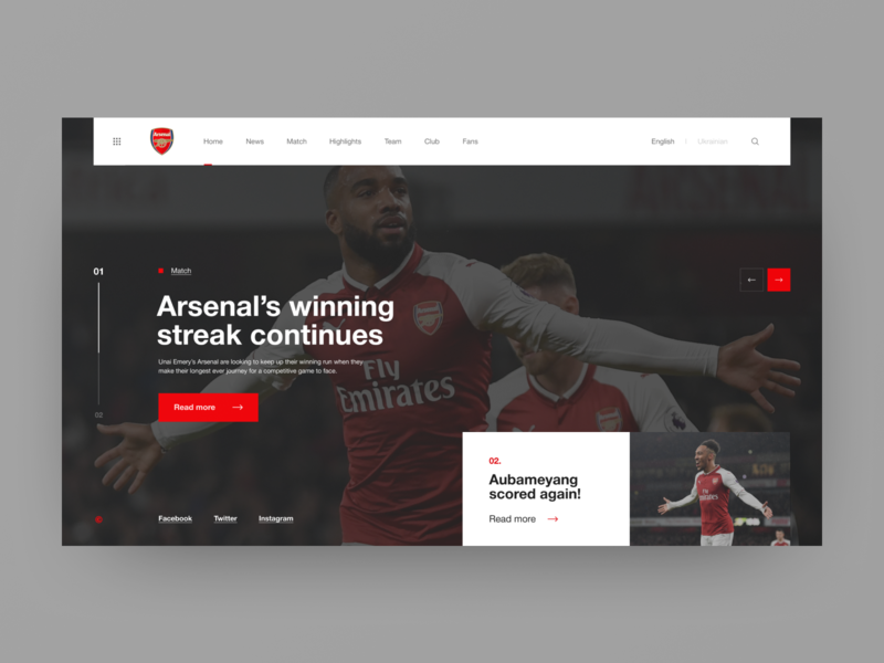 Arsenal London - redesign concept style interace ux design clean soccer football navigation sport web typography ui design