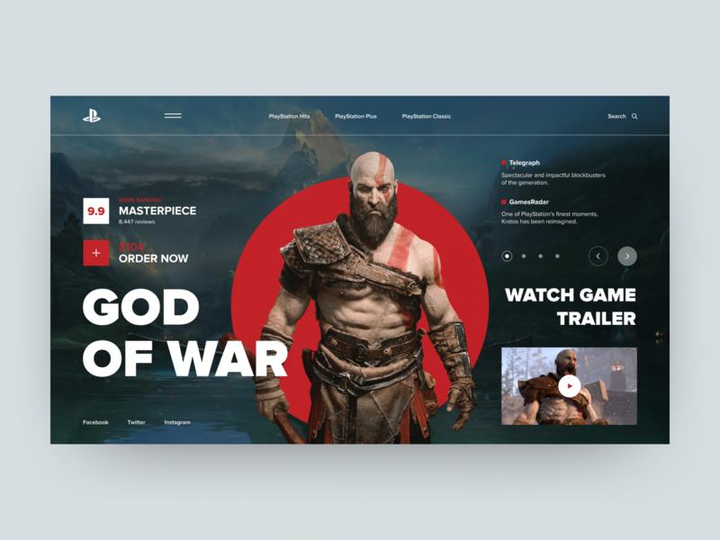 PlayStation Concept God Of War ux  ui charachter website elements navigation colors typogaphy style slide ps4 photo game layout interace web ui design