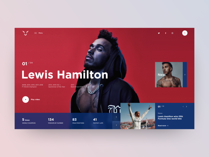Lewis Hamilton - redesign concept layout ux design sport fashion style celebrity automated cars racing f1 lewis hamilton typography photo elements colors clean web ui interace design