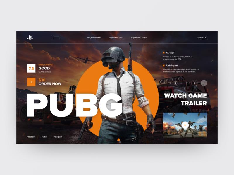PlayStation Concept PUBG orange grid vector sport playstation photo film game colors charachter art navigation ux design typography layout elements web ui style design