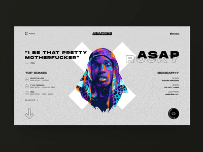 ASAP Mob - ASAP Rocky charachters fashion music video animation motion grid clean charachter art navigation ux design typography layout interace elements web ui style design